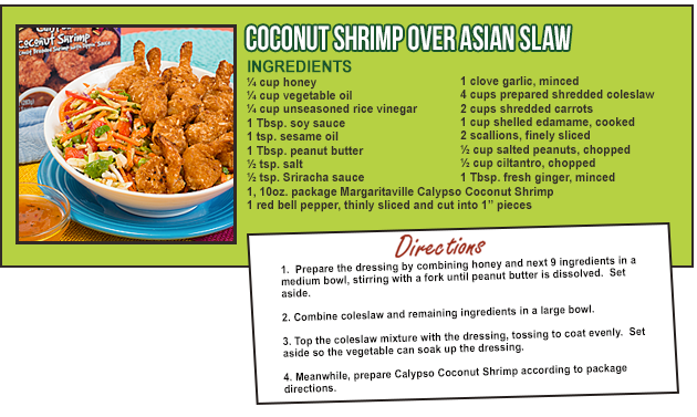 COCONUT SHRIMP Over Asian Slaw